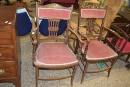 PAIR OF DECORATIVE INLAID UPHOLSTERED ARMCHAIRS, EACH WIDTH APPROX 55CM