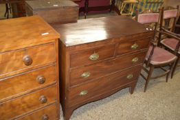 19TH CENTURY MAHOGANY CHEST OF TWO SHORT OVER TWO LONG DRAWERS, WIDTH APPROX 91CM