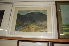 """FRAMED WATERCOLOUR, SIGNED E LONGHORN, """"STAKE PASS"""", APPROX 36 X 47CM"""