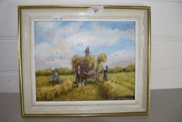 SMALL MODEL OF A HARVESTING SCENE, SIGNED BY JOHN MUNNINGS, DATED 78