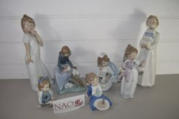 CHILD STUDIES BY LLADRO INCLUDING CHILDREN WITH A TEDDY BEAR AND OTHERS WITH TOYS