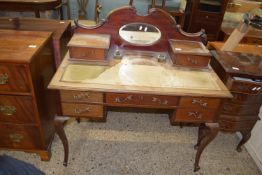 LEATHER INSET BUREAU PLAT, 19TH CENTURY, WITH MIRRORED BACK, WIDTH APPROX 98CM