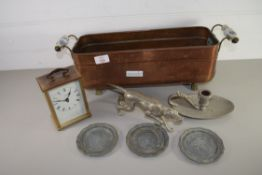 COPPER PLANTER WITH A CARRIAGE CLOCK AND A MODEL OF A DOG