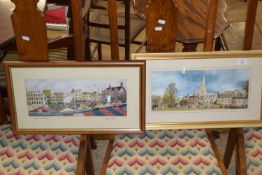 PAIR OF FRAMED NORWICH SCENE PRINTS, MARKET AND CATHEDRAL, EACH FRAME SIZE APPROX 52CM WIDE