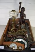 BOX CONTAINING METAL WARES, OIL LAMP WITH GLASS SHADE, MANTEL CLOCK, BAROMETER ETC