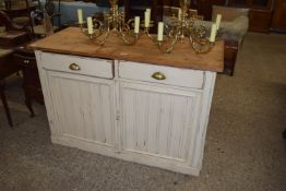 PAINTED PINE SIDEBOARD OR DRESSER BASE, WIDTH APPROX 136CM