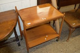 1960S TEAK TEA TROLLEY BY WHITE & NEWTON WITH REMOVABLE TRAY, BEARING RETAILERS LABEL FOR TREVOR