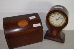 WOODEN WRITING RACK WITH SHELL INLAY TOGETHER WITH A SMALL MANTEL CLOCK WITH SIMILAR DECORATION