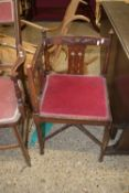 UPHOLSTERED SMALL CORNER CHAIR WITH CARVED ART NOUVEAU STYLE DECORATION, APPROX 40CM SQ