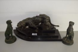 METAL MODEL OF A TIGER AND TWO MODELS OF DOGS