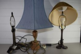 THREE TABLE LAMPS, TWO WITH SHADES