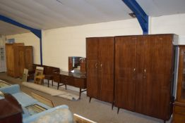 FIVE PIECE 1960S RETRO STYLE BEDROOM SUITE BY MEREDEW COMPRISING TWO WARDROBES, MIRROR BACK DRESSING
