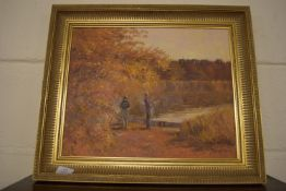 """OIL ON BOARD BY PHYLLIS MORGANS, """"AUTUMN AT FILBY BROAD"""""""