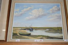 FRAMED OIL ON BOARD, BOATS AT MORSTON CREEK, APPROX 40 X 49CM