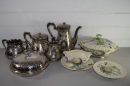 ROYAL DOULTON KIRKWOOD PATTERN TUREEN AND COVER AND GRAVY BOAT AND SMALL PLATE, TOGETHER WITH A