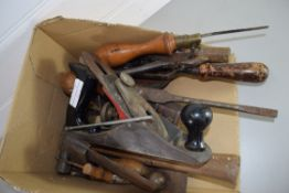 BOX CONTAINING OLD TOOLS, WOODEN CHISELS AND PLANES