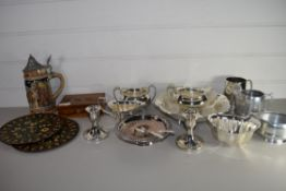 TRAY CONTAINING SILVER PLATED WARES, PAIR OF CANDLESTICKS, GRAVY BOATS ETC