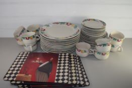 CERAMIC KITCHEN WARES, CUPS AND SAUCERS, DINNER PLATES, SIDE PLATES ETC