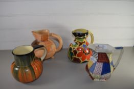 FOUR ART DECO JUGS BY TRENT POTTERY AND OTHERS