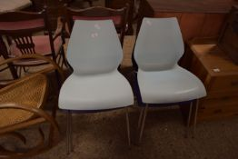 SET OF FOUR CHROMIUM FRAMED DINING CHAIRS