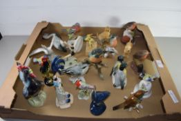 BOX CONTAINING CERAMIC MODELS OF BIRDS, SOME BY KARL EMS AND OTHER FACTORIES