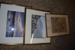 PASTEL PICTURE OF A CASTLE, SIGNED F GODDARD LOWER RIGHT PLUS FURTHER WATERCOLOUR (2)
