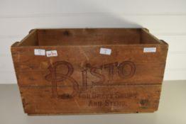 """WOODEN BOX MARKED """"BISTO"""", VINTAGE DESIGN"""