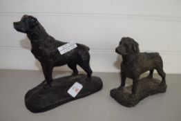 TWO METAL MODELS OF DOGS