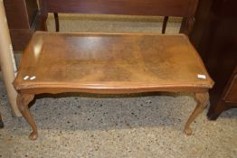 REPRODUCTION COFFEE TABLE WITH GLASS INSET TOP, APPROX 97 X 50CM