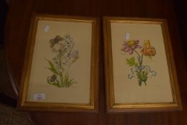 PAIR OF FRAMED BOTANICAL COLOURED PRINTS, EACH APPROX 30 X 20CM