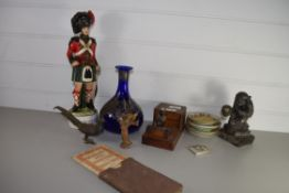 TRAY CONTAINING WOODEN ITEMS, METAL MODEL OF A MONKEY ETC