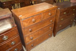 19TH CENTURY CHEST OF TWO SHORT OVER THREE LONG DRAWERS,WIDTH APPROX 88CM