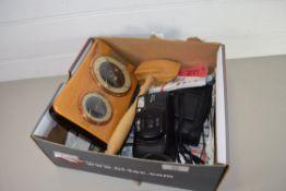 BOX CONTAINING A FUJI CAMERA, BAROMETER IN WOODEN CASE ETC