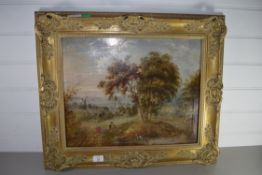 OIL PAINTING OF A PASTORAL SCENE IN GILT FRAME