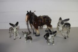 POTTERY MODEL OF A CART HORSE, MODEL OF A DONKEY AND OTHERS
