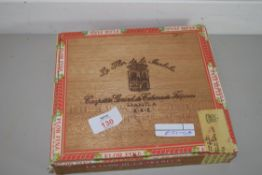OLD CIGAR BOX WITH CLAY PIPES