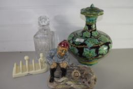 POTTERY VASE AND COVER TOGETHER WITH A GLASS DECANTER AND LURPAK TOAST RACK AND POTTERY FIGURE OF AN