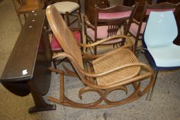 BENTWOOD CANE SEATED ROCKING CHAIR, WIDTH APPROX 51CM
