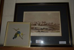 PRINT OF WINDSOR CASTLE AND SMALL PICTURE OF A BIRD PAINTED BY ALBERT FRY