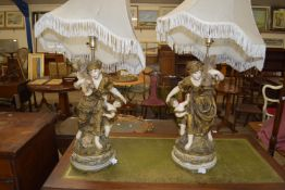 PAIR OF LARGE AND IMPRESSIVE LAMP BASES, MOULDED AS FIGURES, HEIGHT APPROX 69CM