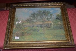 FRAMED PRINT OF A PISSARO PAINTING, FRAME WIDTH APPROX 62CM