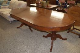 LARGE REPRODUCTION MAHOGANY EFFECT D-END SINGLE PIECE DINING TABLE OR BOARDROOM TABLE, APPROX 247CM
