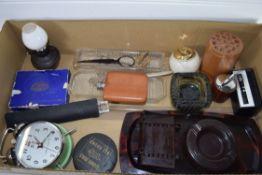 BOX CONTAINING ALARM CLOCK, ASH TRAYS, SMALL BAKELITE CALENDAR, PLATED LETTER OPENER MARKED H DE VIE
