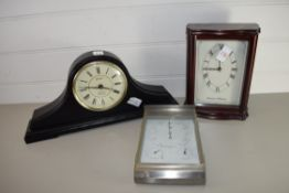 TWO MANTEL CLOCKS AND BAROMETER TOGETHER WITH A THERMOMETER AND HYGROMETER IN METAL CASE