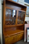 LIGHT OAK DISPLAY CABINET WITH TWO GLAZED DOORS