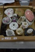 BOX OF CERAMICS, VASES, BOWLS AND COVERS ETC AND SAUCEPANS