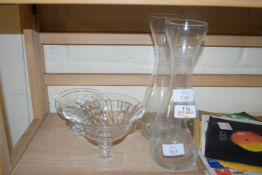 TWO GLASS CARAFES AND BOWLS
