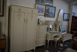 WHITE PAINTED WARDROBE AND DRESSING SET INCLUDING DRESSING TABLE, TWO SMALL BEDSIDE TABLES, CHEST OF