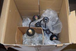 BOX OF METAL CANDELABRA
