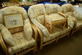 SET OF CONSERVATORY FURNITURE, LIGHT WOOD ARMCHAIRS, SETTEE AND SOFT CUSHIONS